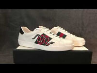 Gucci white leather, snakes logo low top trainers, Brand New size 10