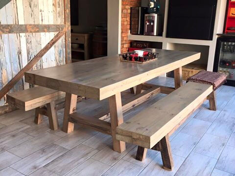 Table Scaffolding Rustic Recycled Coney Timbers 10 Seater 8