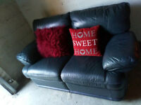2 X 2 SEATER GREY BLUE LEATHER SOFAS ULTIMATE COMFORT VIEWING WELCOME