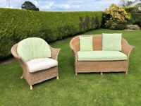 Rattan cane conservatory furniture 2 seater settee & chair(s) with cushions