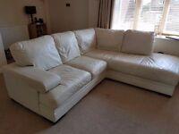 5 Seater Cream Italian Leather Corner Sofa £150 (or best offer)