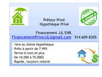 PRÊTEUR PRIVÉ, HYPOTHÈQUE PRIVÉ - MEILLEUR TAUX  1er/ 2ième Rang