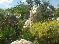 BEAUTYFULL STONE LIONS,5FT TALL,VERY OLD,