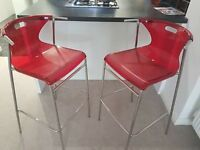 2 x red and chrome breakfast bar stools
