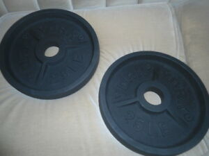 Olympic plates - two of 25 pounds