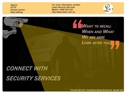 Alarm, CCTV, Data cabling, Phone/MDF, Intercom and Access control
