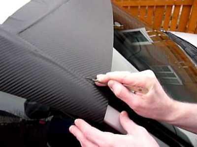 10cm x 152cm Black Carbon Fibre Vinyl Sunstrip Air/Bubble Free