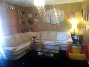 Cream colour leather sectional