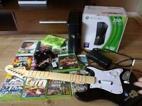 Xbox 360 250gb with 13 games,guitar