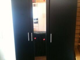 Black 3 Door Wardrobe
