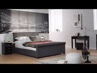 BRAND NEW IN BOX - DREAMS GREY FABRIC OTTOMAN DOUBLE BED