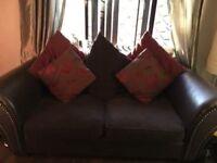 Half cloth half leather 2+3 seater sofa