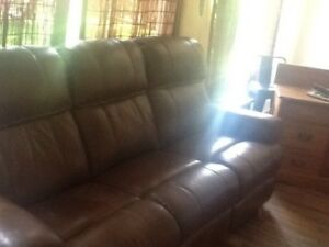 Couch brown bonded leather newer 2 seats recline