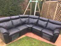 Leather corner recliner sofa