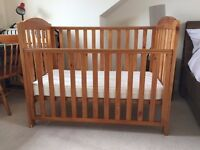 Mothercare Takeley Cot with drop sides + John Lewis spring mattress
