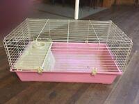 pink indoor rabbit guinea pig bunny ferret hutch cage