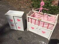 dolls cot and wardrobe with working mobile