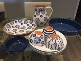 Blue and White Set - Large Bowl, Plates, Small Bowls, Pitcher, Oval Roasting Dish