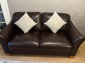 Dark Brown Leather Sofas x2