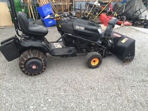 Craftsman riding lawn tractor with snow blower
