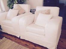2 large, gorgeous lounge chairs, WHITE thick cotton slipcovers Cronulla Sutherland Area Preview