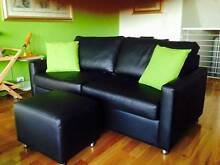2x3 Seater Black Leather Sofas, 1 with Qn Sofa bed & 2 Ottomans Matraville Eastern Suburbs Preview