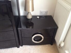Stunning gloss black bedside table with double draw
