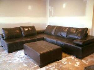 Large 6 seater brown leather lounge plus ottoman Port Macquarie Port Macquarie City Preview