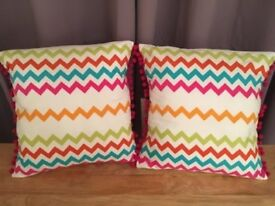 Multicoloured Pom Pom Cushions - Excellent condition