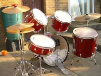 NOW SOLD !!!CB Evans 5-piece Drum Kit full size. £55 for quick sale before Christmas.