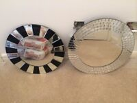 Mirror with hand cut pieces and striped border mirror - 1 for £7 both for £12