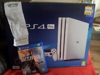 Playstation 4 Pro 1tb Glossy white 1 week old Unwanted Present with Receipt