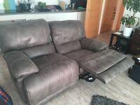 2 seater recliner grey sofa