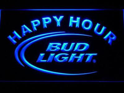 Bud Light Beer Happy Hour Led Neon Sign for Game Room,Office,Bar,Man Cave Garage
