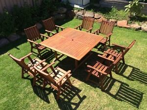 """Solid timber Jarrah 9 piece """"Funk"""" outdoor setting Wynn Vale Tea Tree Gully Area Preview"""