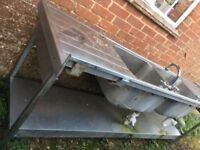 Double sink - catering, with taps, 2ft x 7ft, will need a van or roofrack to collect
