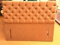 "high quality 50"" high, 60"" wide colchester chenille fabric - beige headboard"