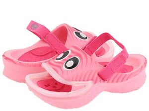 Pink Pink Polliwalks Fish Lips Sandals Clogs Girls Size 10