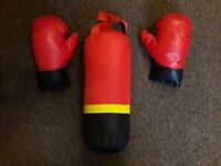Kids punch bag and gloves