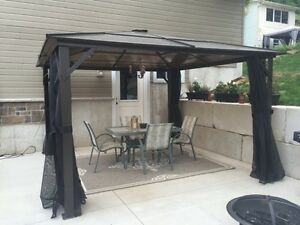 12' x 12' India Gazebo with Polycarbonate Hardtop and Netting