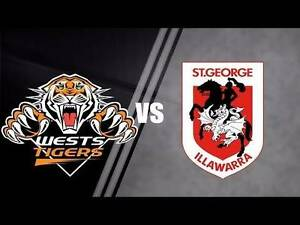 Wests Tigers vs St George Dragons 2 Adult Tickets $12.50 each Sydney City Inner Sydney Preview
