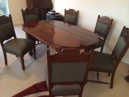 Antique dining table with 6 chairs / 5 Seater couch set / East Melbourne Melbourne City Preview