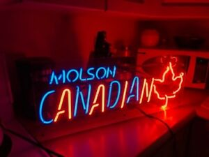 Large Neon Sign-Molson Canadian, great for rec room or bar