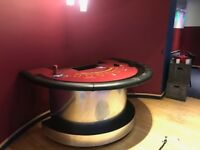 Casino Blackjack table with chips and 6 stools in very good condition