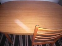 EXTENDABLE DINING ROOM TABLE AND FOUR CHAIRS (ONLY ONE PICTURED)