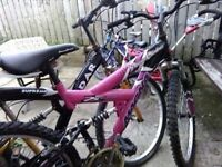 pink and black 26inch girls/ladies bike