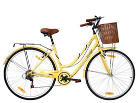 Vintage Cycle with Basket & Luggage Carrier - Yellow (Like New)