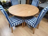 circular oak and grey painted dining table and chairs