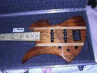 Custom Warmoth BC Rich Mocking Bird Bass Guitar Left Handed.