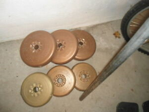 Weight bar and weights - $20 for the lot